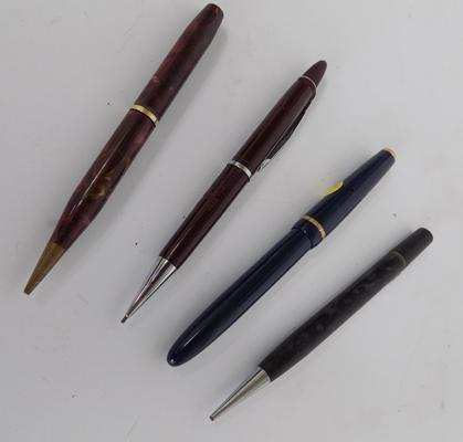 Four pens, one Parker with 14ct gold nib