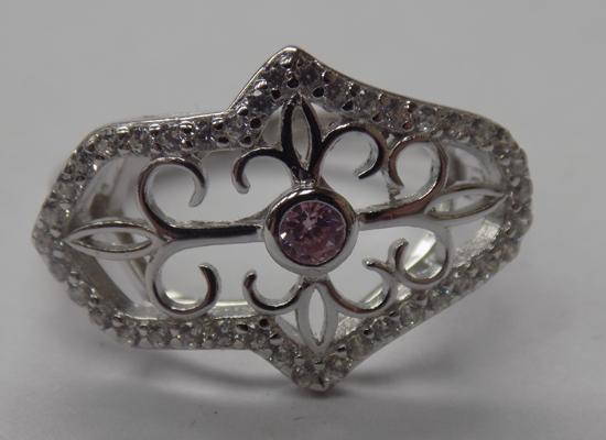 925 Silver pink & white topaz vintage style ring size Q