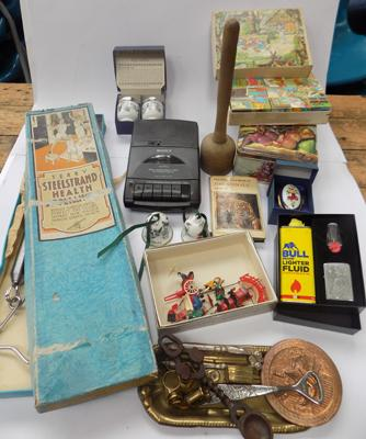 Box of mixed collectables inc vintage items, Zippo lighter, brass items etc