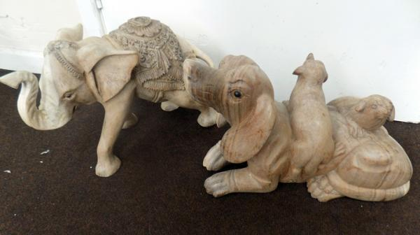 Two large wooden carvings - elephant & dogs