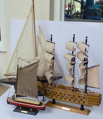 "3 model yachts and gallions-yacht 24"" tall-moving sails"