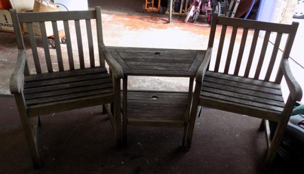 Wooden 'Jack & Jill' bench/table set