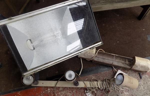 Large outdoor floodlight, 3 wall lights & electric heater (as seen-unchecked)