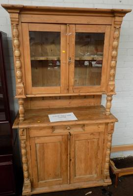 Glass fronted reclaimed pine cupboard/ unit (treated)