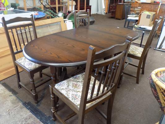 Four dining chairs + drop leaf table