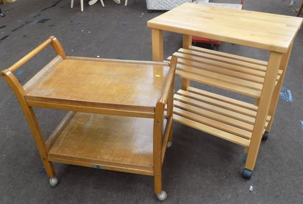 Solid wood serving trolley + retro serving trolley by Staples & Co.