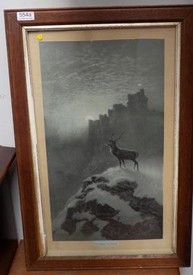 Vintage framed stag charcoal drawing 'In Lonely Solitude' by Hayes