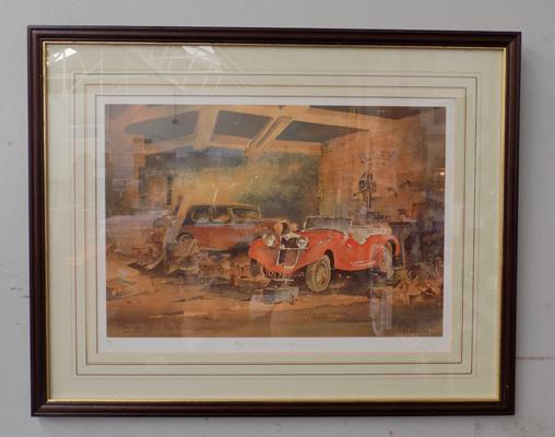 Limited Edition signed framed print of Riley Lynx, 1935 + Riley Falcon, 1936
