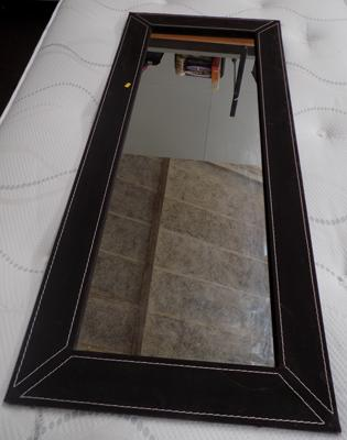 "Leather style framed large mirror - 55"" x 24"""