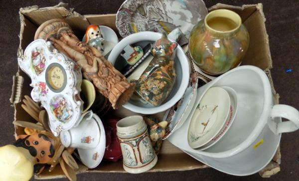 Generous box of mixed collectable pottery