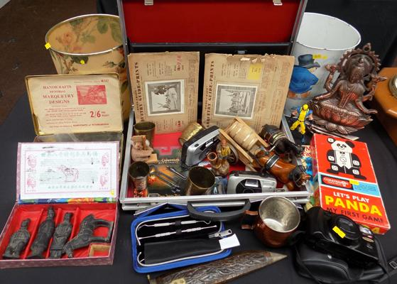Large selection of vintage collectables incl. antler briefcase