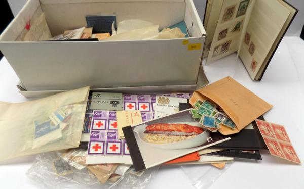 Shoe box containing stamp booklets etc. mint stamps etc.