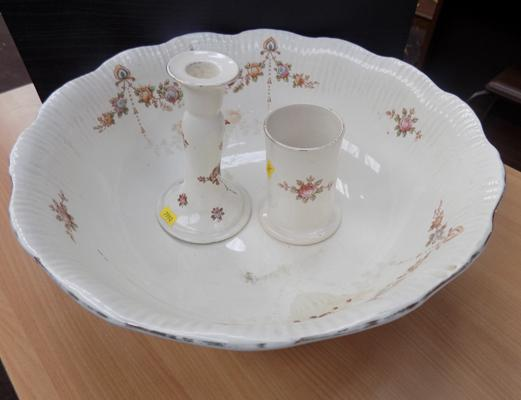 Wash bowl + two other items (Devonware)
