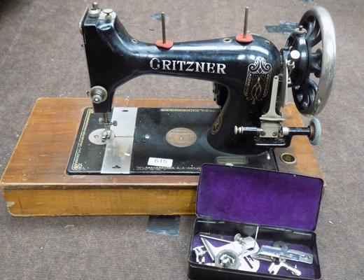 Vintage Gritzner sewing machine + accessories - foot pedal/lead will require new plugs