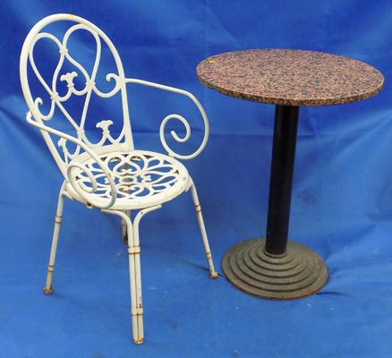 Cast and marble top table and chair
