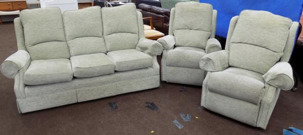 Three seater settee + two reclining armchairs