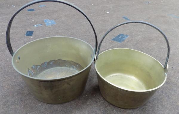 Two brass jam pans