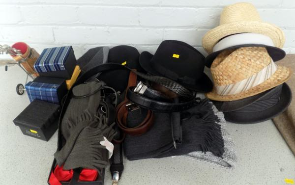 Large collection of gent's hats, belts & accessories