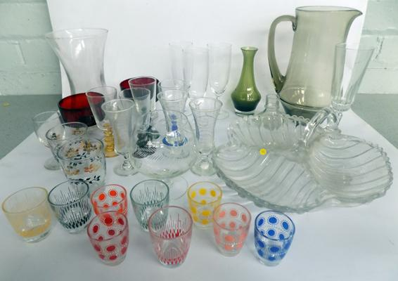 Large selection of vintage glass & coloured glass items