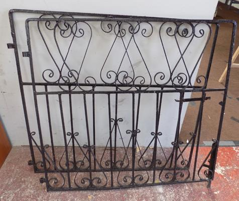 "Black cast iron gates (2), each gate approx. 44"" wide x 40"" high"