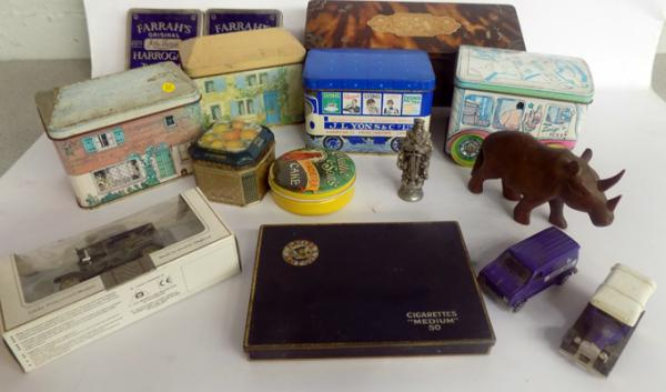 Selection of vintage tins & other collectables