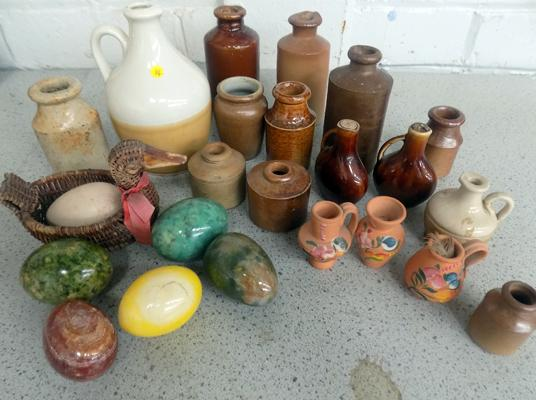 Selection of miniature stoneware jugs & marble eggs