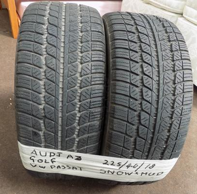 Two 225/40/18 snow tyres for Audi A3/A4/Golf/VW Passat - good tread