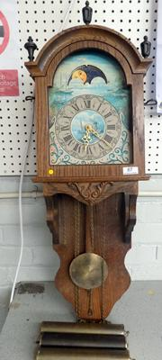 Oak cased vintage clock, with weights, needs attention, no glass on face