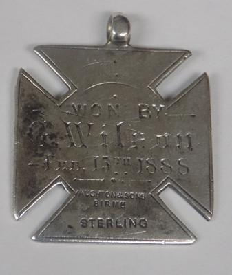 Victorian silver fob medal (Science & Art), crca 1888, hallmarked Birmingham, sterling silver with maker mark - Vaughton & Sons