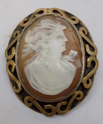 Antique silver cameo brooch, no hallmarks