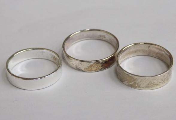 Three x 925 silver wedding band rings, various sizes