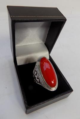 Silver and coral set ring