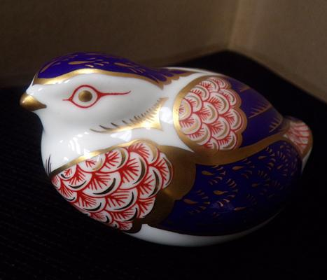 Royal Crown Derby Quail paperweight silver stopper