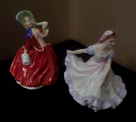 2x Royal Doulton miniatures Ninette HN3215 & Autumn Breeze HN2176