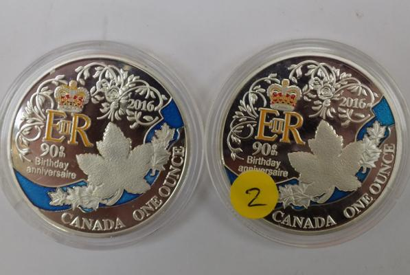 Two x 1 oz Canadian coins