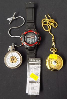 Two pocket watches + digital watch with instructions