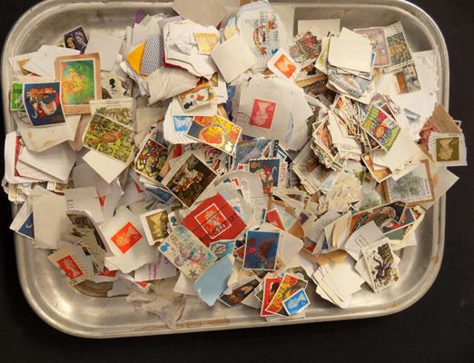 Tray of stamps