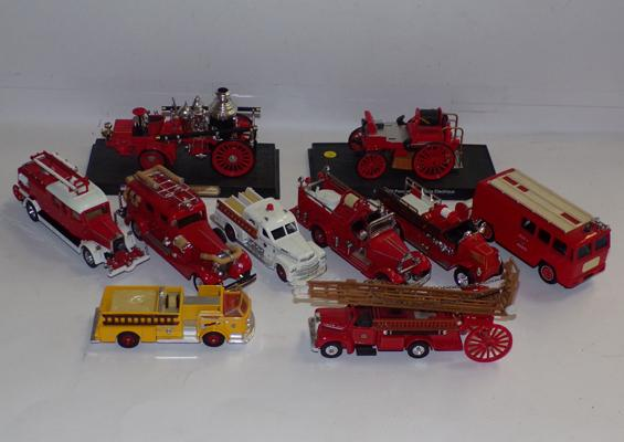 Collection of 10 precision diecast, as new, fire engines, various scales