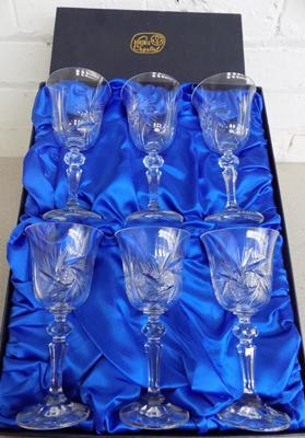 Set of 6 Bohemia crystal glasses in box