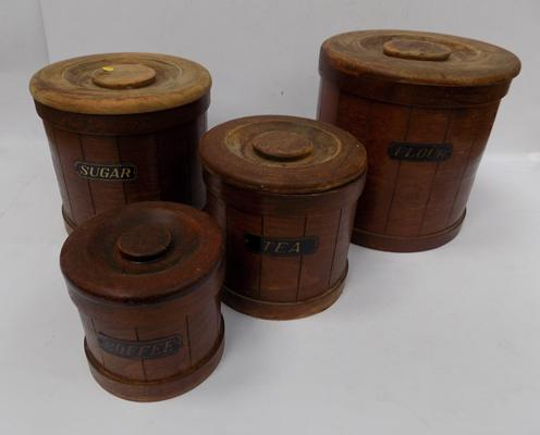 Treen coffee tea & sugar set