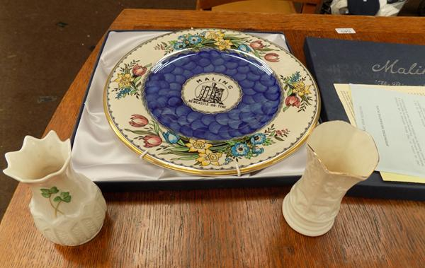 Selection of pottery inc Belleek