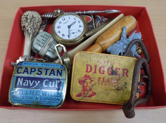 Small tray of collectables inc pocket watch