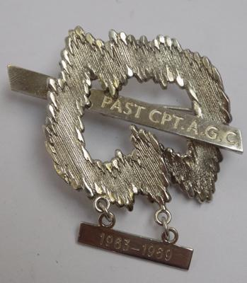 Unusual silver badge - engraved 'Past C&T A.G.C. 1963 -1969', hallmarked silver on back