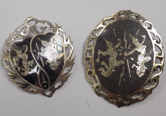 Two Siam sterling silver brooches - good condition