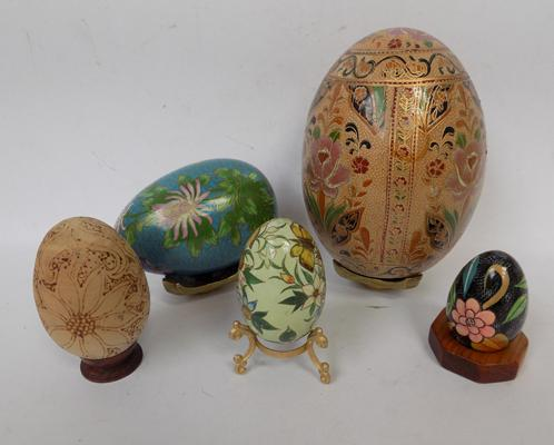 Collection of five Art glass designer eggs