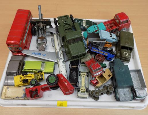 Tray of diecast vehicles