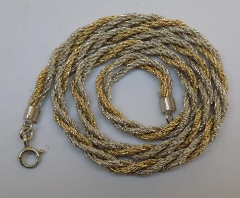 Heavy gold on silver rope twist necklace, English hallmark