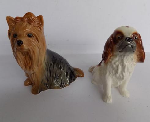 Sylvac King Charles spaniel No 4097 + Yorkshire Terrier 5027-good condition