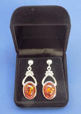 Pair of silver and amber earrings
