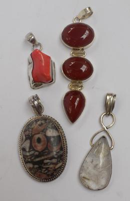 Four x large 925 silver & gemstone pendants, incl. carnelian, rulite, coral etc...
